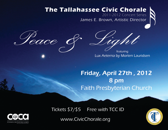 2012 Spring Peace and Light Concert Poster (by Todd Hinkle)