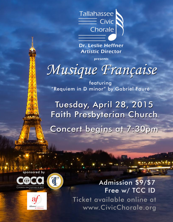 2015 Spring 'Musique Francaise' Concert Poster (by Todd Hinkle)